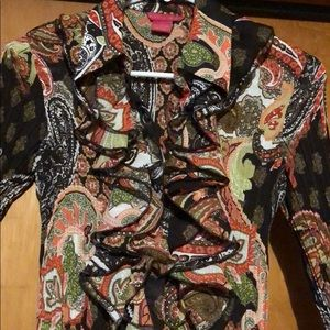 Sunny Leigh Tops - Sunny Leigh ruffles front button up shirt